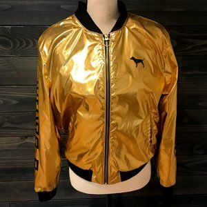 PINK Zip Up Jacket Gold Size S